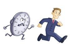 Geschäftsmann läuft gegen Zeit Lizenzfreies Stockfoto