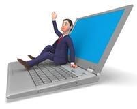 Geschäftsmann-On Laptop Indicates-World Wide Web und Geschäfte Stockfotografie