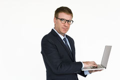 Geschäftsmann-Laptop Technology Working-Konzept Stockfotografie