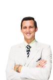 Geschäftsmann lokalisiert auf weißem Hintergrund Stockfotografie
