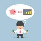 Geschäftsmann möchten sein Geld für die Rettung und die Investierung handhaben Lizenzfreie Stockfotos