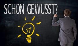 Geschäftsmann malt Glühlampe und schon gewusst? auf Deutsch Stockbild