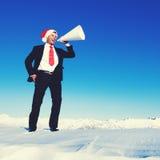 Geschäftsmann-Megaphone Holiday Season-Konzept stockfotos