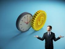 Geschäftsmann mit abstraktem Uhr- und Gangdollar vektor abbildung