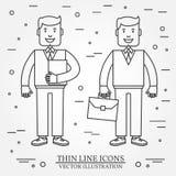 Geschäftsmann mit Aktenkoffer und Geschäftsmann mit dünner Linie Ikone des Ordners Für Webdesign und Anwendungsschnittstelle auch Lizenzfreies Stockfoto
