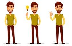 Geschäftsmann mit Bart, Karikaturzeichensatz lizenzfreie abbildung