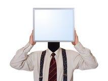 Geschäftsmann mit Bildschirm für Kopf Stockfotografie