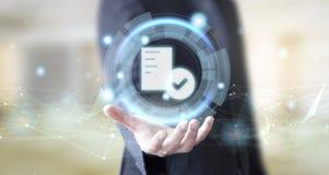 Geschäftsmann mit Billigungskonzept des digitalen Dokuments rate lizenzfreies stockfoto