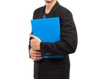 Geschäftsmann mit blauer Datei lizenzfreie stockfotos