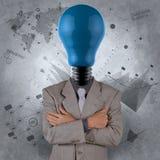 Geschäftsmann mit Blaulichtbirnenkopf als Konzept Lizenzfreie Stockfotografie