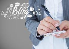 Geschäftsmann mit Blog- und Grafikzeichnungen Stockbild