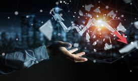 Geschäftsmann mit defekter Wiedergabe des Krisenpfeiles 3D Lizenzfreies Stockbild