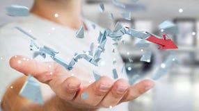 Geschäftsmann mit defekter Wiedergabe des Krisenpfeiles 3D Stockfotografie
