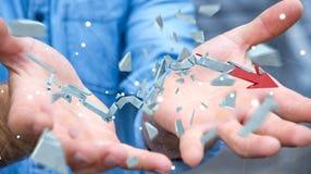 Geschäftsmann mit defekter Wiedergabe des Krisenpfeiles 3D Stockbilder