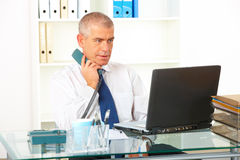 Geschäftsmann mit dem Überlandleitungtelefon, das Laptop betrachtet lizenzfreie stockfotos