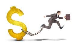Geschäftsmann mit dem Dollar, der über Abstand auf Weiß springt Stockbilder