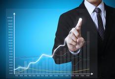 Geschäftsmann mit dem Finanzsymbolkommen Lizenzfreie Stockbilder