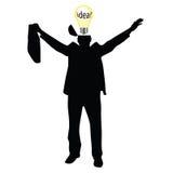 Geschäftsmann mit dem Ideenvektorschattenbild Stockbilder