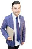 Geschäftsmann mit dem Laptop getrennt Lizenzfreies Stockfoto