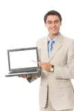 Geschäftsmann mit dem Laptop, getrennt Stockfoto