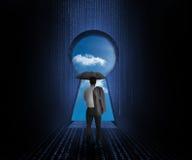 Geschäftsmann mit dem Regenschirm, der Himmel betrachtet stock abbildung