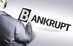 Geschäftsmann mit dem Text bankrott in einem Konzeptbild Lizenzfreie Stockfotos