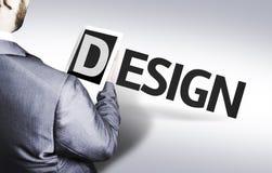 Geschäftsmann mit dem Text Design in einem Konzeptbild Lizenzfreies Stockbild