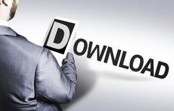 Geschäftsmann mit dem Text Download in einem Konzeptbild Stockfoto
