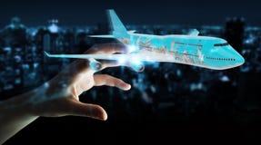 Geschäftsmann mit den flachen und berühmten Marksteinen der Welt 3D zerreißen lizenzfreie abbildung