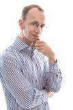 Geschäftsmann mit den Gläsern, die Kamera betrachtend lokalisiert betrachten lizenzfreies stockbild