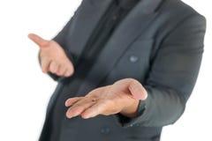 Geschäftsmann mit den offenen Händen auf Weiß Stockfoto