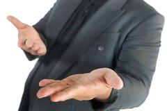 Geschäftsmann mit den offenen Händen auf Weiß Lizenzfreies Stockbild