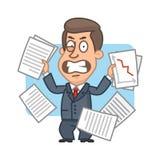 Geschäftsmann mit den Papieren verärgert Stockfoto