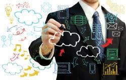 Geschäftsmann mit der Wolke, die themenorientierte Bilder berechnet Stockfotos