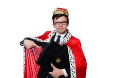 Geschäftsmann mit der Krone lokalisiert Stockfotografie
