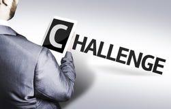 Geschäftsmann mit der Text Herausforderung in einem Konzeptbild Stockfoto