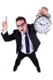 Geschäftsmann mit der Uhr lokalisiert Lizenzfreies Stockfoto