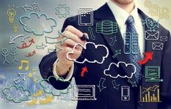 Geschäftsmann mit der Wolke, die themenorientierte Bilder berechnet stockbilder