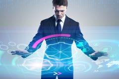 Geschäftsmann mit digitalem Cyberspace stockbild