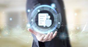 Geschäftsmann mit digitalem Dokumentenschutzkonzept stockfotografie