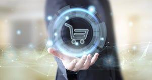 Geschäftsmann mit digitalem Geschäft online stockbild