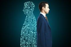 Geschäftsmann mit digitalem Partner stockfotografie