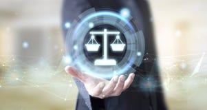 Geschäftsmann mit digitalem Rechtsberatungskonzept stockbilder