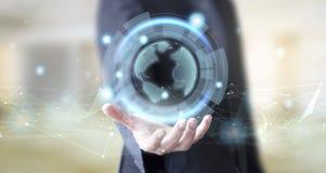 Geschäftsmann mit Digitaltechnikerdplaneten lizenzfreie stockfotos