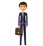 Geschäftsmann mit Dokumenten und Aktenkoffer Stockfotos