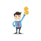 Geschäftsmann mit Dollar Stockfoto
