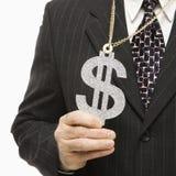 Geschäftsmann mit Dollarzeichen Stockfotografie