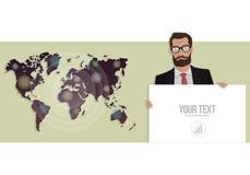 Geschäftsmann mit einem Brett und einer Karte der Welt Vektorillustration für Website Stockfoto