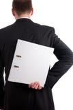 Geschäftsmann mit einem Dateifaltblatt hinter seinem zurück Stockbilder