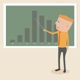 Geschäftsmann mit einem Diagramm, das Erfolg zeigt Stockfotografie